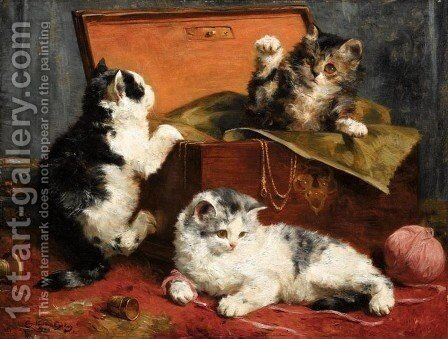 Kittens at Play by Charles van den Eycken - Reproduction Oil Painting