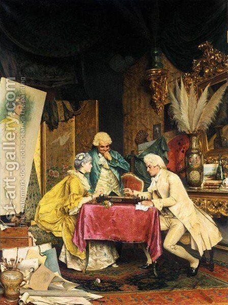 Sala artistica by Arturo Ricci - Reproduction Oil Painting