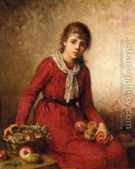 Girl with Fruit by Alexei Alexeivich Harlamoff - Reproduction Oil Painting