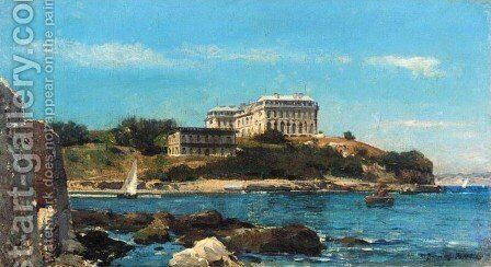 La Cote a Biarritz by Jean-Baptiste Olive - Reproduction Oil Painting