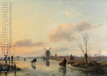 Skaters in a Winter Landscape with Windmills by Andreas Schelfhout - Reproduction Oil Painting