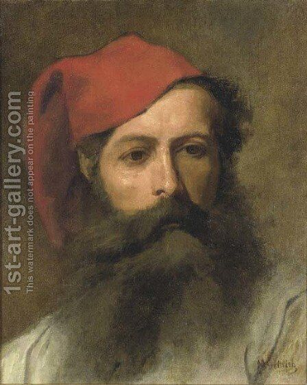 Portrait of a Man with a Turkish Hat by Maurycy Gottlieb - Reproduction Oil Painting