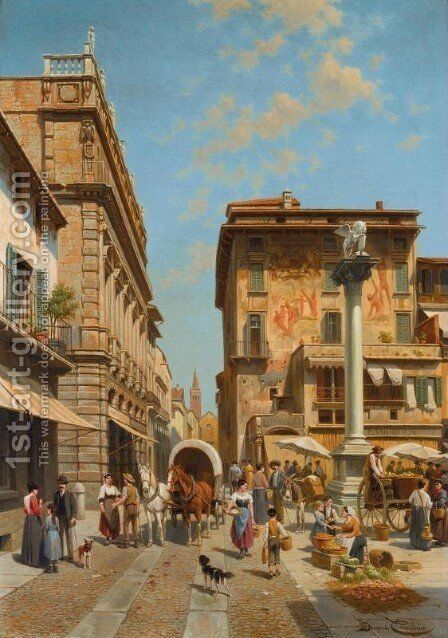 Piazza delle Erbe, Verona by Jacques Carabain - Reproduction Oil Painting