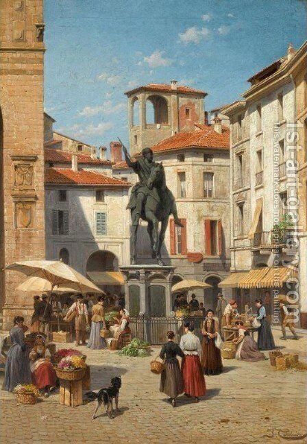 Piazza Cavalli, Piacenza by Jacques Carabain - Reproduction Oil Painting