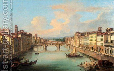 Arno from the Ponte Vecchio, Florence by Giovanni Signorini - Reproduction Oil Painting
