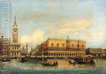 Gondolas Before the Doge's Palace, Venice by Carlo Grubacs - Reproduction Oil Painting