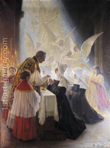 Holy Communion by Angelo Graf von Courten - Reproduction Oil Painting
