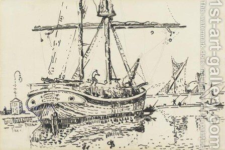 Docked Ship by Paul Signac - Reproduction Oil Painting