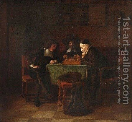 Chess Game by Simeon Buchbinder - Reproduction Oil Painting