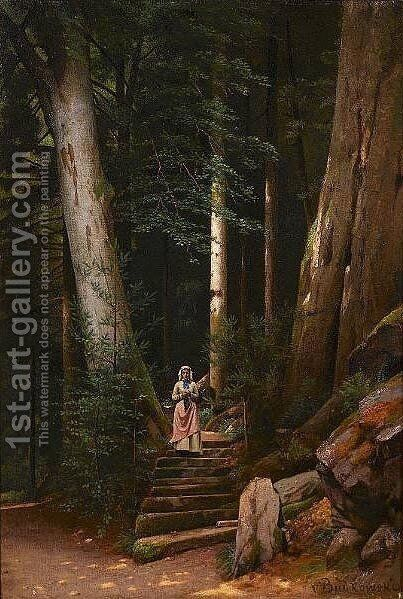 Wooden Stairs by Gustaw Daniel Budkowski - Reproduction Oil Painting