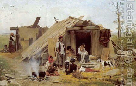 In the Gypsy Camp (Im Zigeunerlager) by Anton Kozakiewicz - Reproduction Oil Painting
