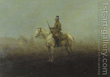 Guard in the Fog (Wachposten im Nebel) by Antoni Piotrowski - Reproduction Oil Painting