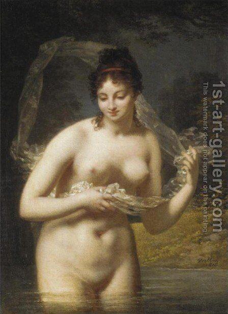 Nude in a Lake by Jacques-Antoine Vallin - Reproduction Oil Painting