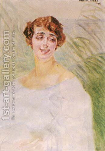 Portrait of a Lady Against a Background of Reeds by Jacek Malczewski - Reproduction Oil Painting