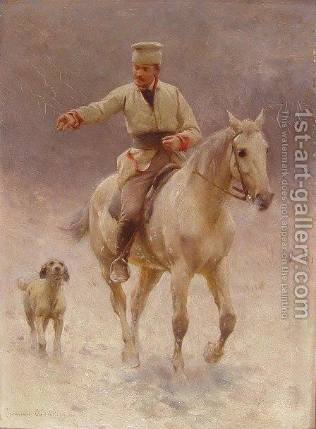 Rider on Horseback with a Dog in Winter by Sigismund Ajdukiewicz - Reproduction Oil Painting