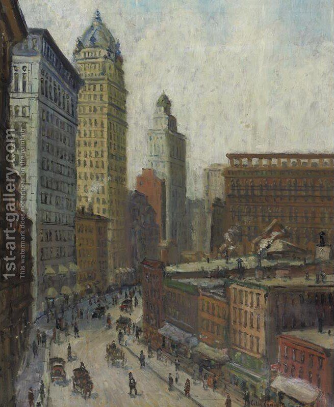 645a4714e25343 Lower Broadway by Colin Campbell Cooper - Reproduction Oil Painting