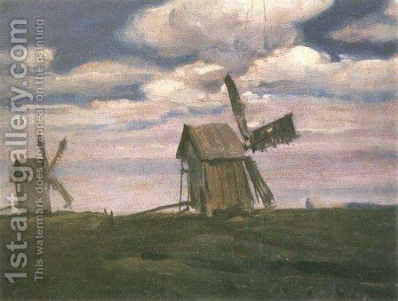 Windmills by Jan Stanislawski - Reproduction Oil Painting
