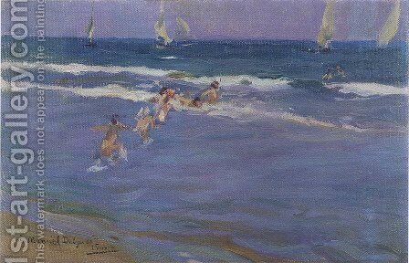 Ninos en el mar (Children in the sea) by Joaquin Sorolla y Bastida - Reproduction Oil Painting