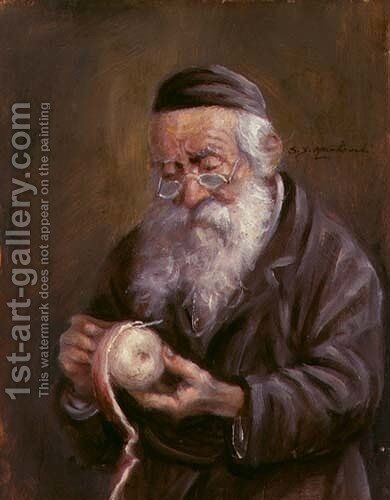 Jew with an Apple by Jan S. Markowski - Reproduction Oil Painting