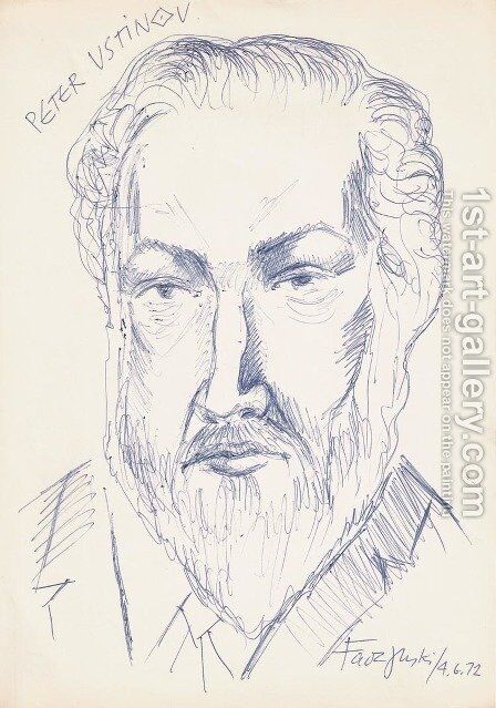Peter Ustinov by Jerzy Faczynski - Reproduction Oil Painting