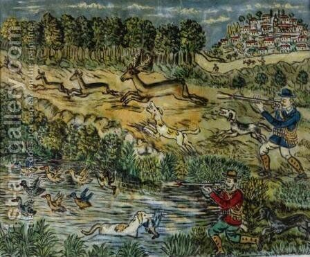 Hunting Scene by Theofilos (Hadjimichael) - Reproduction Oil Painting