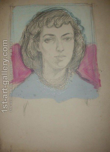 Unfinished Portrait of a Woman by Jerzy Faczynski - Reproduction Oil Painting