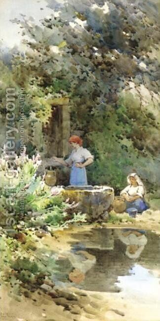 By the Well by Angelos Giallina - Reproduction Oil Painting