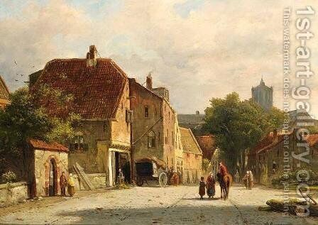 Figures in a Dutch Town by Adrianus Eversen - Reproduction Oil Painting