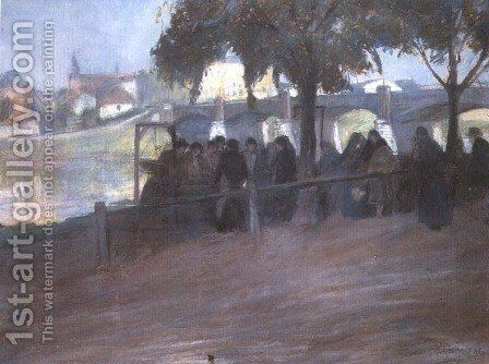 Fish Market near the Podgorski Bridge in Cracow by Artur Markowicz - Reproduction Oil Painting
