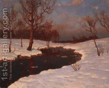 Winter Sunset by Ivan Fedorovich Choultse - Reproduction Oil Painting