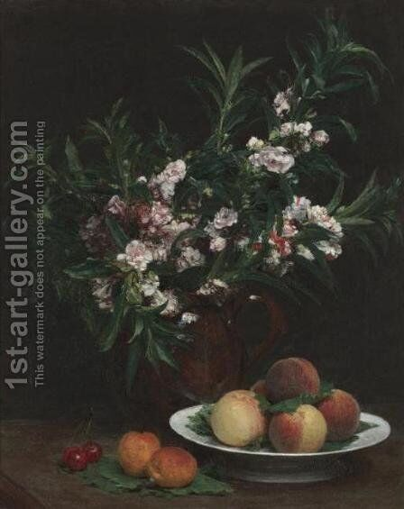 Nature morte (balsamines, peches et abricots) by Ignace Henri Jean Fantin-Latour - Reproduction Oil Painting