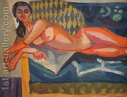 Reclining female nude by Jerzy Faczynski - Reproduction Oil Painting