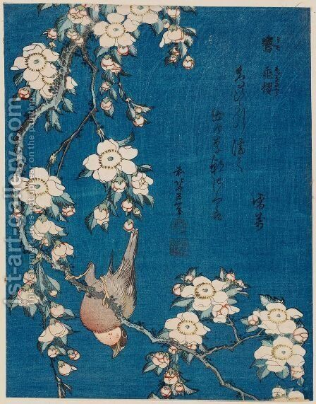 Weeping Cherry and Bullfinch by Katsushika Hokusai - Reproduction Oil Painting