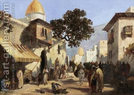 Street, probably in Cairo (Rue animee, probablement au Caire) by Auguste Rigon - Reproduction Oil Painting