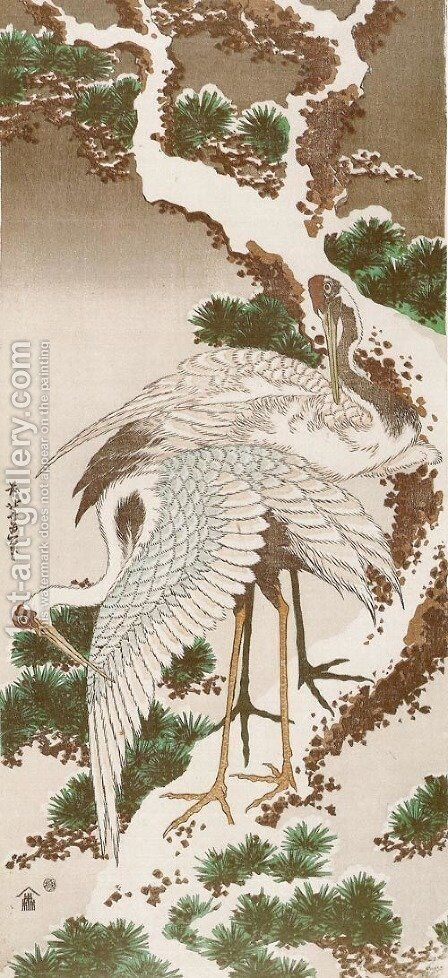 Cranes on a Snowy Pine by Katsushika Hokusai - Reproduction Oil Painting