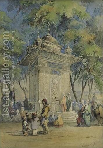 Fountain in Turkey (Fontaine en Turquie) by Charles Frederick de Brocktorff - Reproduction Oil Painting
