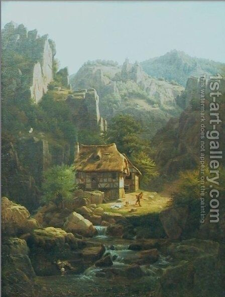 Mountain landscape by Christian Breslauer - Reproduction Oil Painting