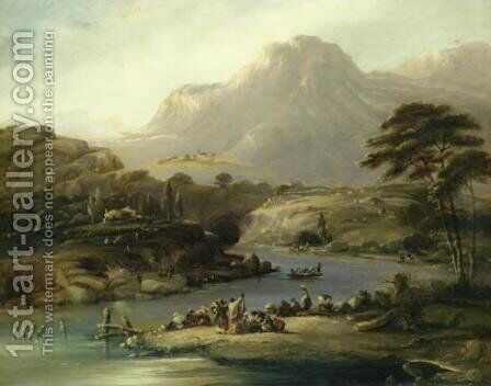 Banks of the Sil River, Valley of Quiroga (Ribera de Sil, Valle de Quiroga) by Jenaro Perez Villaamil - Reproduction Oil Painting