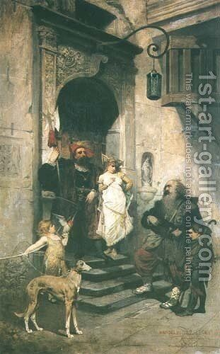 On the Steps of the Palace by Wandalin Strzalecki - Reproduction Oil Painting