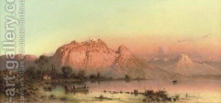 Lago di Aronzo - Late Afternoon by the Lake by Aleksander Swieszewski - Reproduction Oil Painting