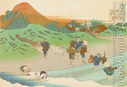 Washing in a River by Katsushika Hokusai - Reproduction Oil Painting