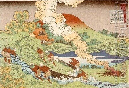 Fishermen Hauling a Net (Kakinomoto no Hitomaro) by Katsushika Hokusai - Reproduction Oil Painting