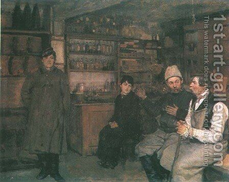 In an Inn by Antoni Piotrowski - Reproduction Oil Painting