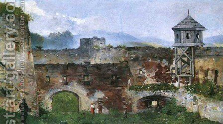 Ruins of a Castle in Lubowla by Antoni Gramatyka - Reproduction Oil Painting