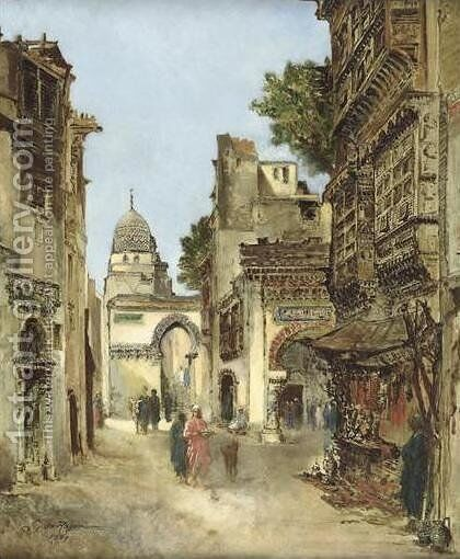Busy Street in Cairo (Une rue du Caire en 1869) by Godefroy de Hagemann - Reproduction Oil Painting