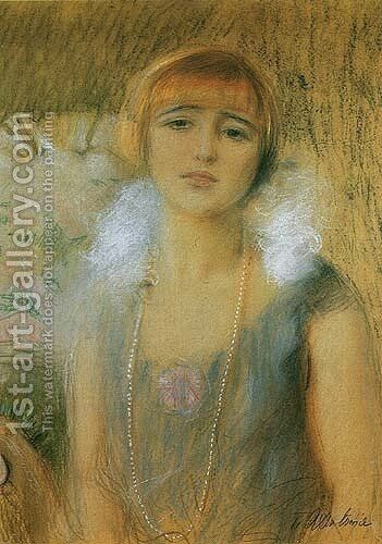 Girl with a Fringe by Teodor Axentowicz - Reproduction Oil Painting