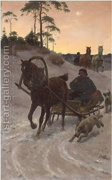 The Sleight Ride by Sigismund Ajdukiewicz - Reproduction Oil Painting
