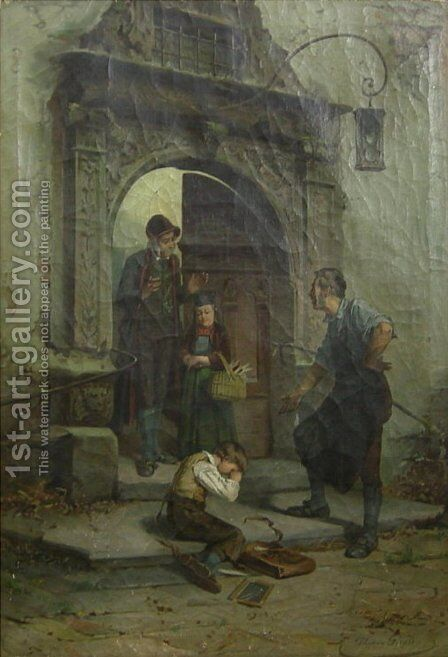 Boy in Shades of Grey at School Entrance by Theodore Gerard - Reproduction Oil Painting
