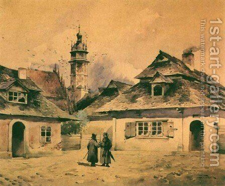 Kazimierz, the Old Jewish District of Cracow by Stanislaw Tondos - Reproduction Oil Painting