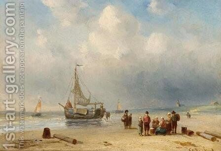 Bringing in the Catch by Charles Henri Leickert - Reproduction Oil Painting